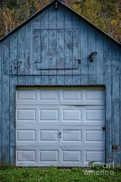 Wall Art - Photograph - Old Blue Garage Barn Vermont by Edward Fielding