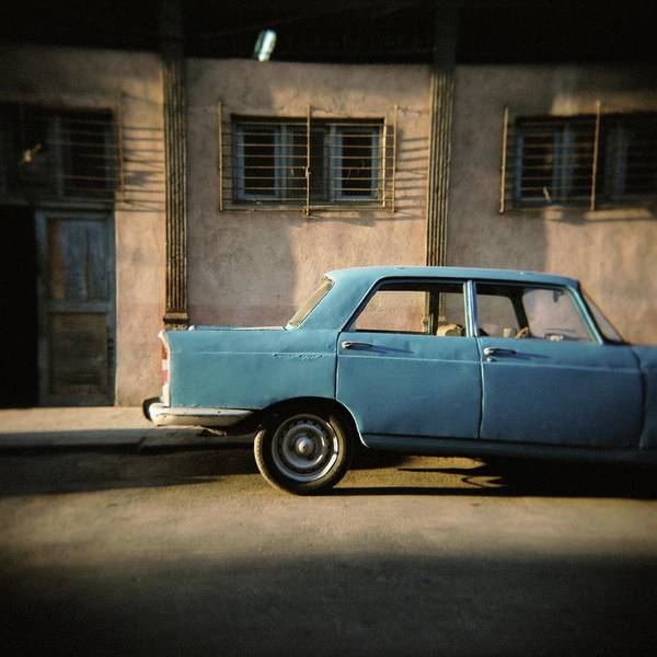 Parking Structure Photograph - Old Blue Soviet Car, Havana, Cuba, West by Lee Frost / Robertharding