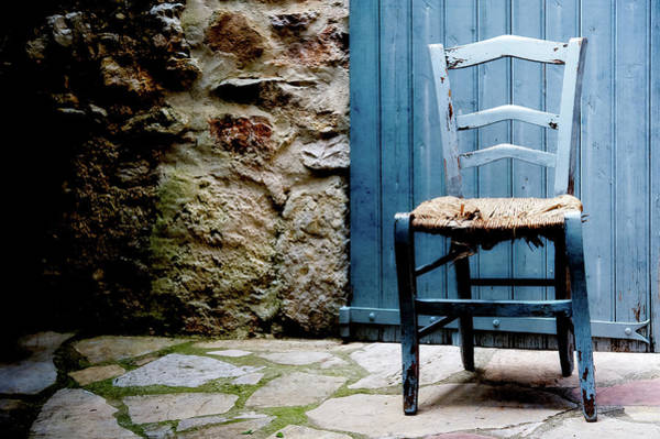 Damaged Photograph - Old Blue Wooden Caned Seat Chair At by Alexandre Fp