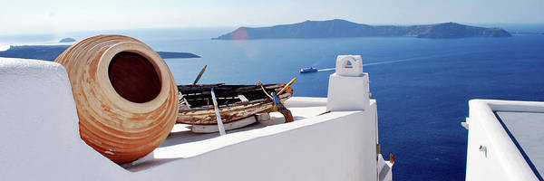 Wall Art - Photograph - Old Boat And Urn On Roof In Santorini by Jeff Rose Photography