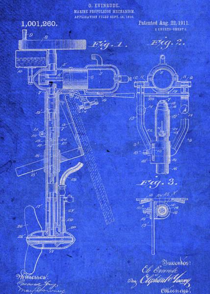 Engine Mixed Media - Old Boat Motor Vintage Patent Blueprint by Design Turnpike