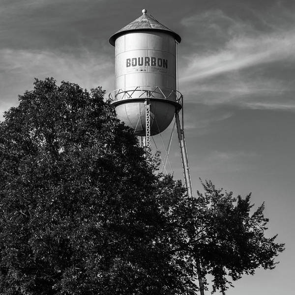 Photograph - Old Bourbon Monochrome Water Tower - Missouri Route 66 1x1 by Gregory Ballos
