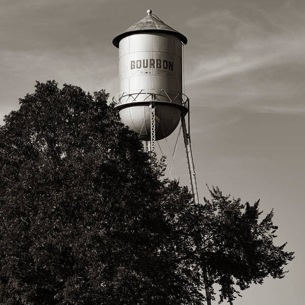 Photograph - Old Bourbon Water Tower - Sepia Missouri Route 66 1x1 by Gregory Ballos