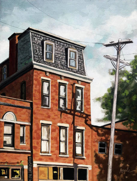 Wall Art - Painting - Old Brick Building Oil Painting  by Linda Apple