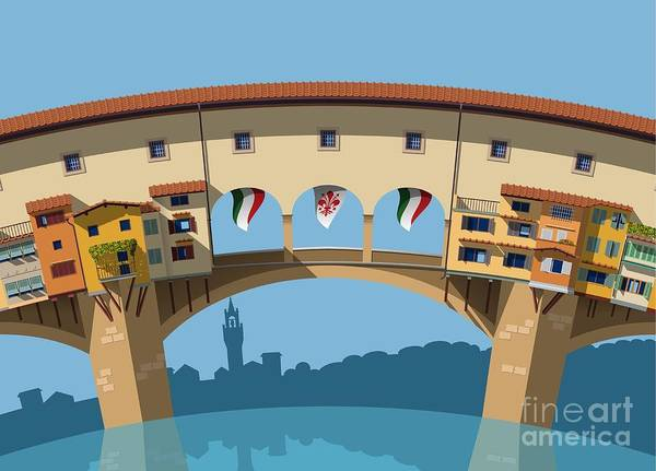 Wall Art - Digital Art - Old Bridge In Florence Flat Illustration by Nikola Knezevic