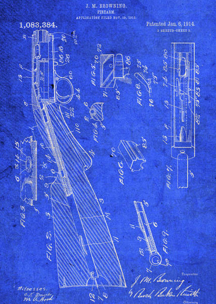 Wall Art - Mixed Media - Old Browning Firearm Gun Vintage Patent Blueprint by Design Turnpike
