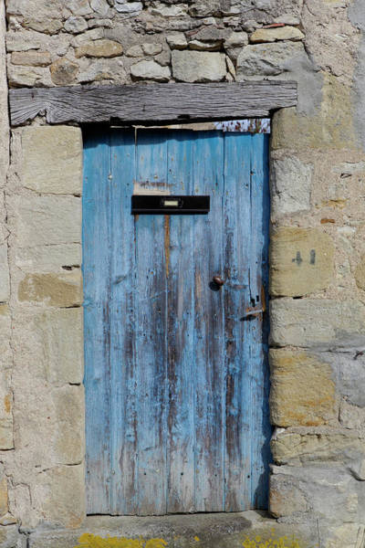 Mail Slot Photograph - Old Bue Door With Letterbox by Picavet