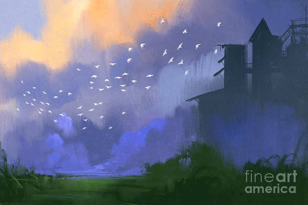 Wall Art - Digital Art - Old Building In A Field,landscape by Tithi Luadthong