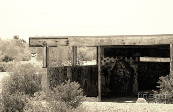 Photograph - Old Building With The Mother Graffiti Salton Sea In Sepia by Colleen Cornelius