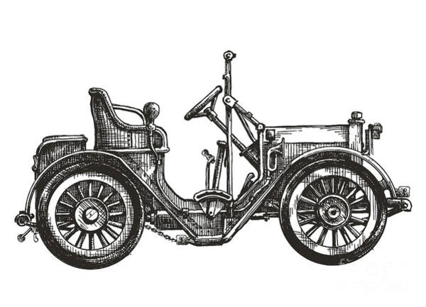 Engraved Digital Art - Old Car On A White Background. Sketch by Ava Bitter