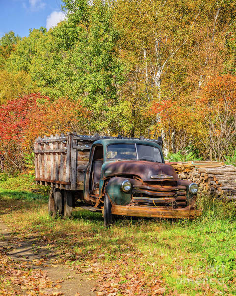 Photograph - Old Chevy Farm Truck Fall In Vermont by Edward Fielding