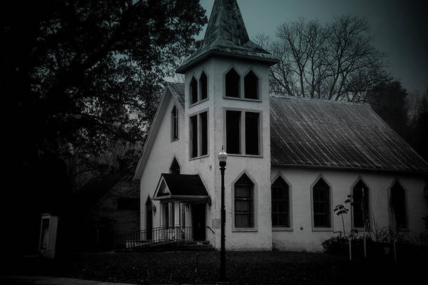 Photograph - Old Church - Bw - Dark by James L Bartlett