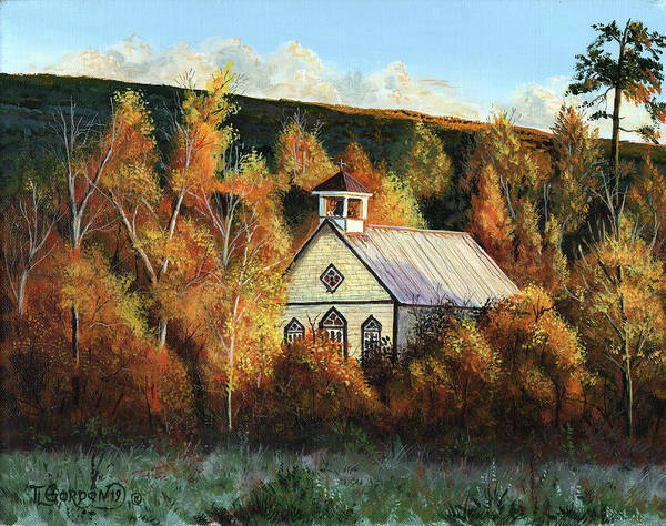 Wall Art - Painting - Old Church In Autumn by Timithy L Gordon
