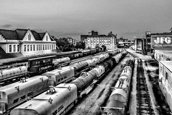 Photograph - Old City Train Tracks Black And White by Sharon Popek
