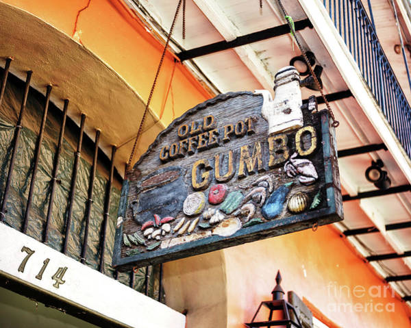 Wall Art - Photograph - Old Coffee Pot Gumbo In New Orleans by John Rizzuto