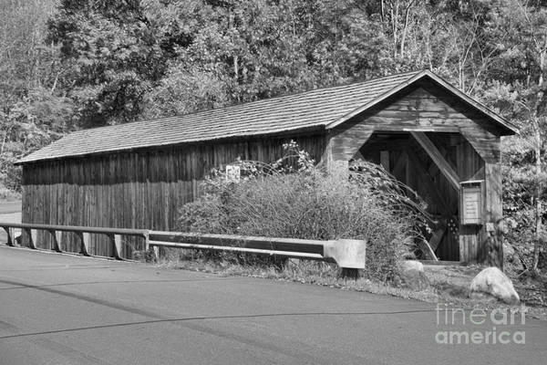 Photograph - Old Cold River Covered Bridge Black And White by Adam Jewell