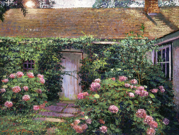 Painting - Old Cottage Hydrangeas by David Lloyd Glover