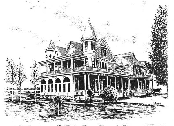 Drawing - Old Daly Mansion Hamilton Montana by Kevin Heaney