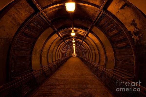 Illuminate Wall Art - Photograph - Old Dark Red Tunnel by Zholobov Vadim