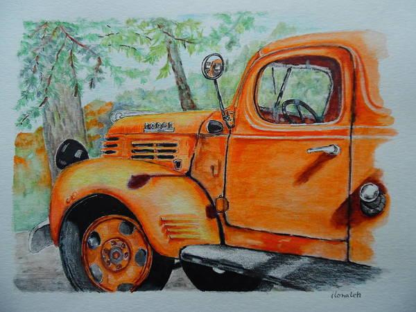 Wall Art - Drawing - Old Dodge Truck At Patterson Farms by ILona Halderman