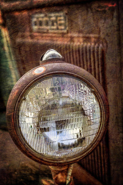 Photograph - Old Dodge Truck Headlight by Teri Virbickis