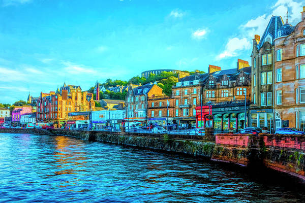 Photograph - Old Downtown Oban Scotland Painting by Debra and Dave Vanderlaan