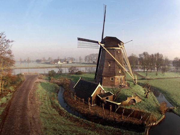 Holland Wall Art - Photograph - Old Dutch Windmill Near Amsterdam by Photo By Fabfoto