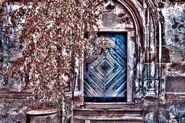 Timeworn Photograph - Old Facade With Blue Door by Maria Angelica Maira