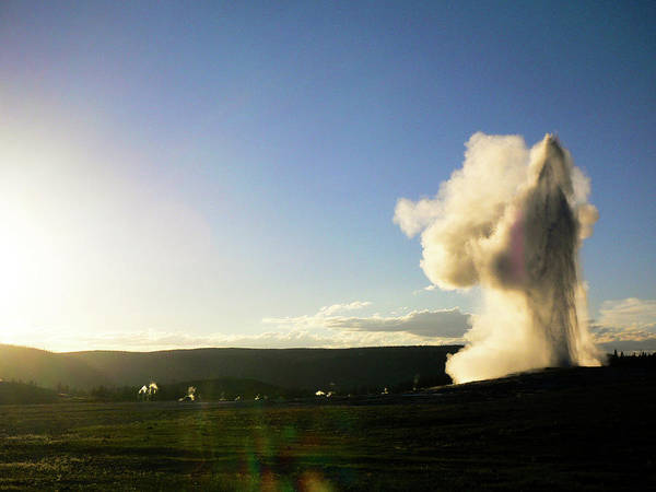 Upper Geyser Basin Photograph - Old Faithful In The Evening by Universal Stopping Point Photography