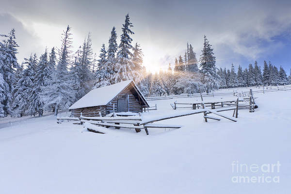 Wall Art - Photograph - Old Farm In The Mountains At Winter by Andrew Mayovskyy
