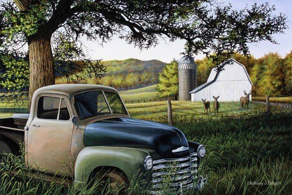 Old Chevy Truck Painting - Old Farm Truck by Anthony J Padgett