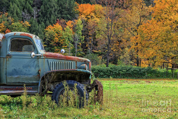 Wall Art - Photograph - Old Farm Truck Autumn Fall Foliage Vermont by Edward Fielding