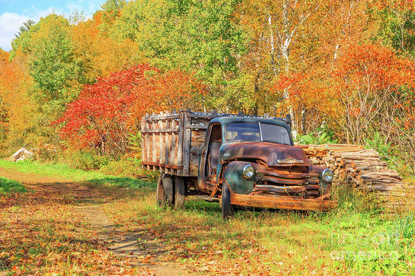 Photograph - Old Farm Truck Fall Foliage Vermont by Edward Fielding