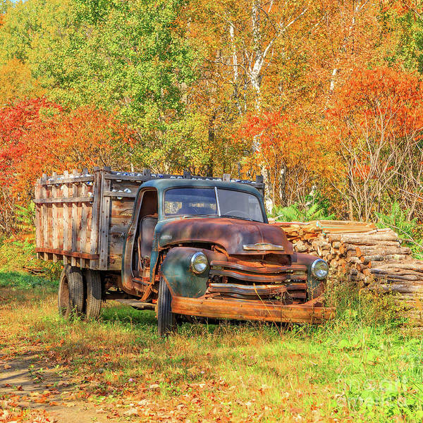Wall Art - Photograph - Old Farm Truck Fall Foliage Vermont Square by Edward Fielding