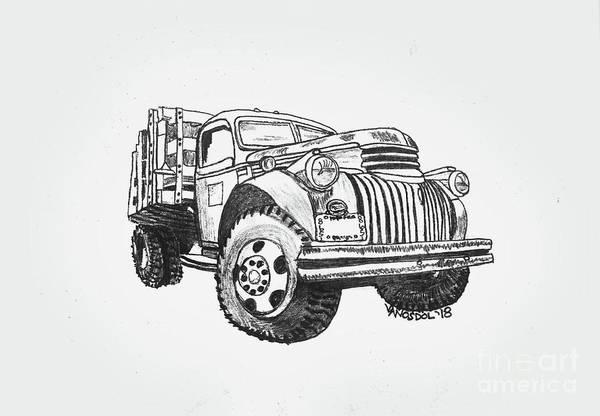 Old Chevy Truck Drawing - Old Farm Truck - Graphite Pencil by Scott D Van Osdol