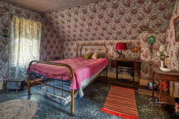 Photograph - Old Farmhouse Upstairs Bedroom by Jim Thompson