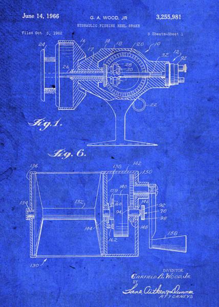 Brake Wall Art - Mixed Media - Old Fishing Reel Brake Vintage Patent Blueprint by Design Turnpike