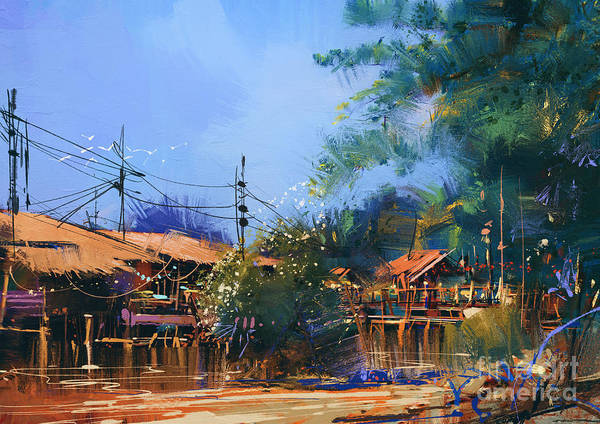 Wall Art - Digital Art - Old Fishing Village,oil Painting by Tithi Luadthong