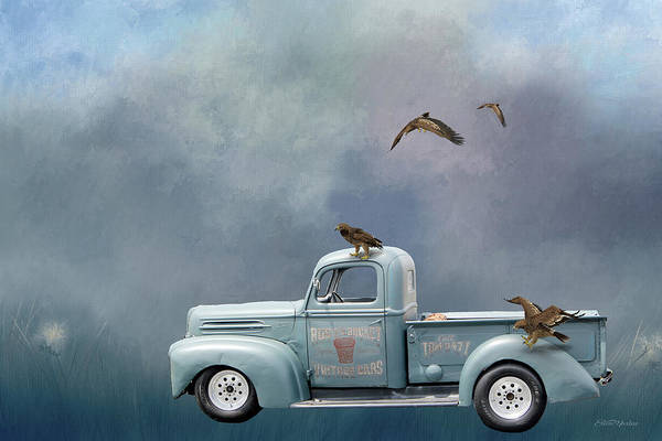Digital Art - Old Ford Truck And Eagles - Digital Art by Ericamaxine Price