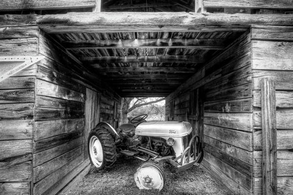 Photograph - Old Ford Waiting In The Barn In Black And White by Debra and Dave Vanderlaan