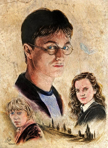Ron Weasley Wall Art - Drawing - Old Friends Colour by Andrew Read