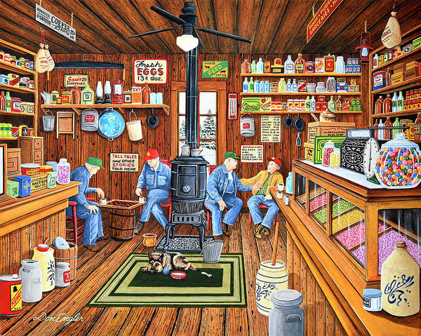 Butter Churn Painting - Old Friends by Don Engler
