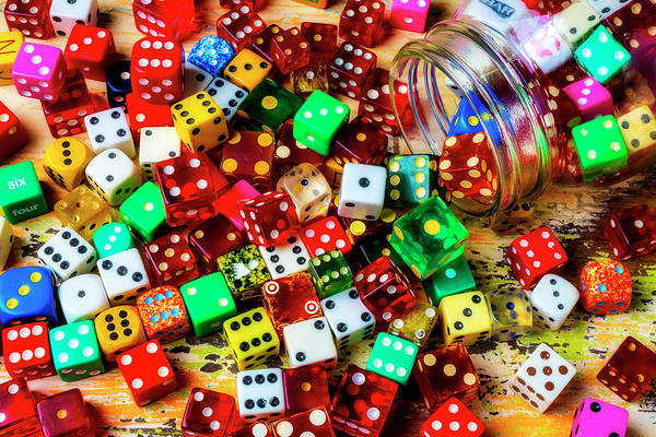 Wall Art - Photograph - Old Game Dice Pouring From Glass Jar by Garry Gay