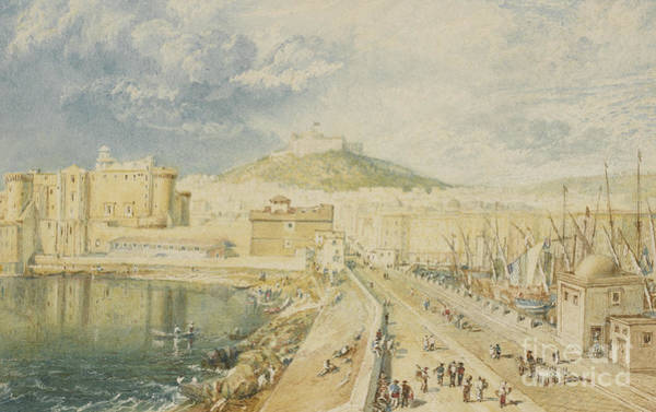 Wall Art - Painting - Old Harbor, Naples, 1818  by Joseph Mallord William Turner