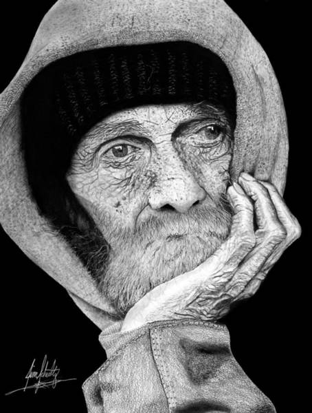 Wall Art - Drawing - Old Homeless Man Drawing by James Schultz