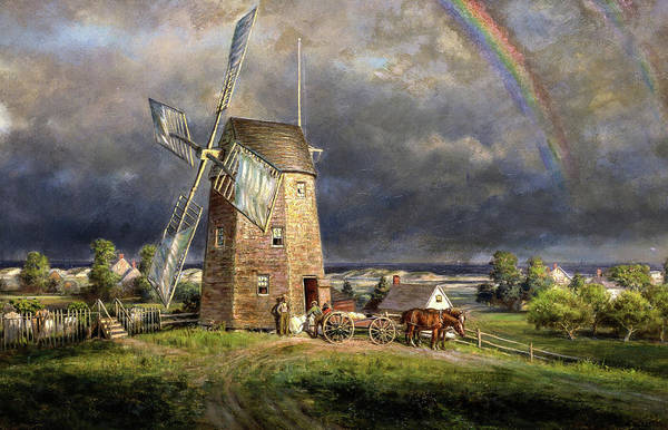 Wall Art - Painting - Old Hook Mill, Easthampton, 1880 by Edward Lamson Henry