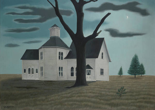 Wall Art - Painting - Old House, New Moon by George Copeland Ault