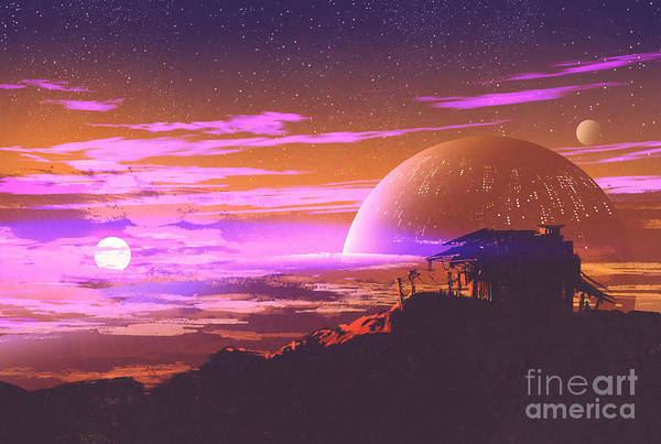 Atmosphere Wall Art - Digital Art - Old House On Planet by Tithi Luadthong
