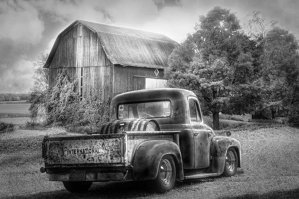 Photograph - Old International Pickup Truck In Black And White by Debra and Dave Vanderlaan