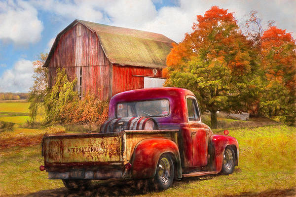 Photograph - Old International Pickup Truck Oil Painting by Debra and Dave Vanderlaan